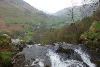 Water plunging over the edge at Pistyll Rhaeadr