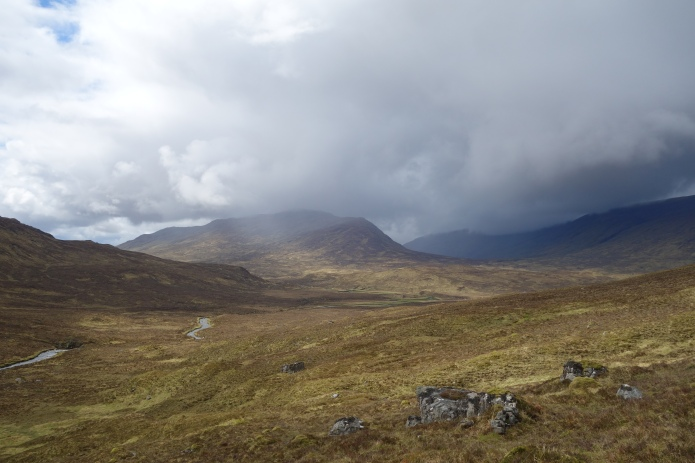 Looking back over the flood plain towards Loch Calavie