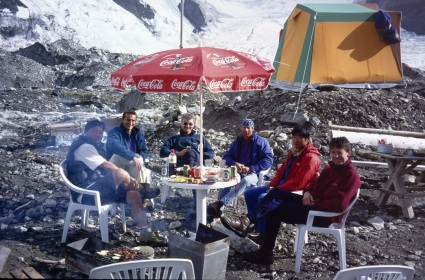 Beer on the North Engilcheck Glacier