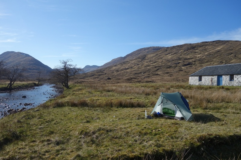 Camp at the end of Day 2 at Tighnacomaire in Glen Scaddle