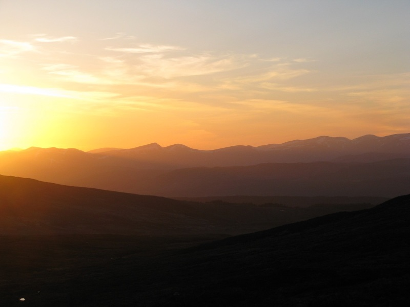 Sunset from camp at the end of Day 7 below Carn Gorm
