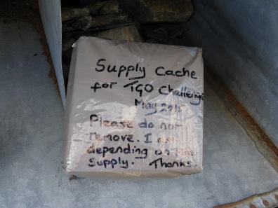 Resupply parcel, hidden by Baddoch Burn for a month