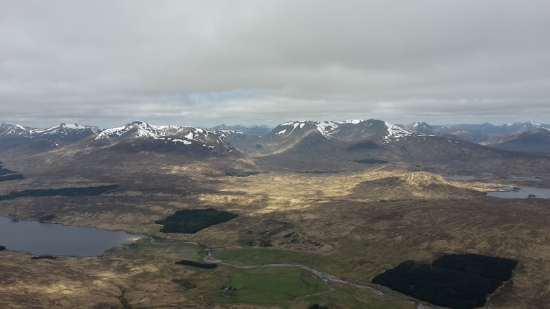 Superb views across Rannoch towards Glen Coe from the Bridge of Orchy Munros