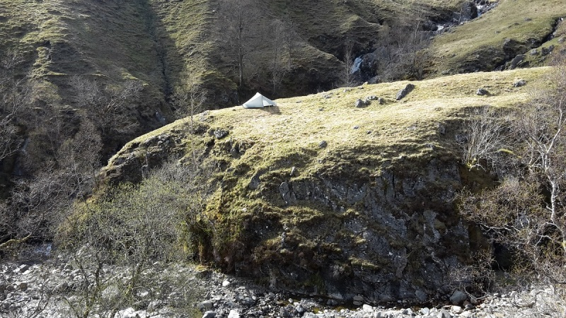 Camp amongst the shielings at Eas nan Aighean, by Loch Lyon