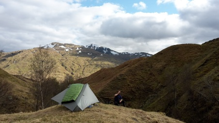 Evening brew amongst the shielings at Eas nan Aighean, by Loch Lyon