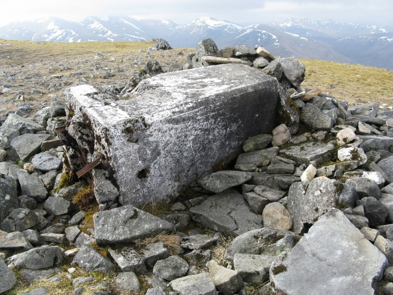 Forlorn trig point on Carn Mairg