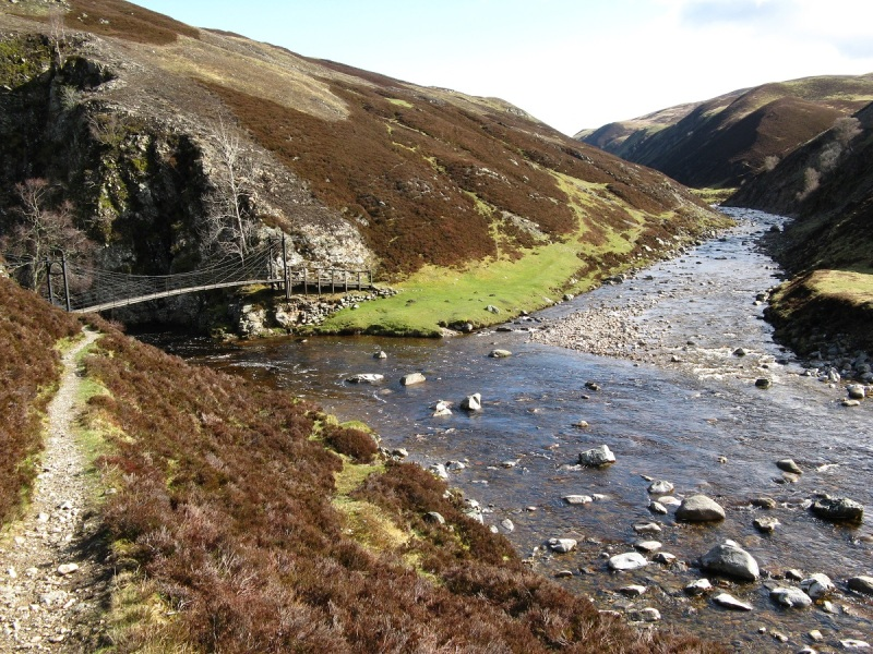 Approaching the bridge by Falls of Tarf, Glen Tilt