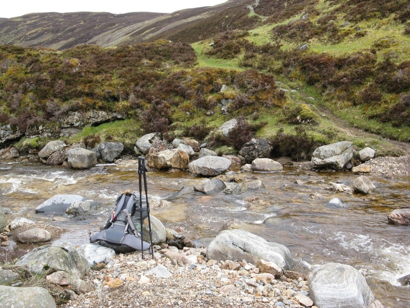 Safe crossing over Allt Garbh Buidhe where it meets the River Tilt