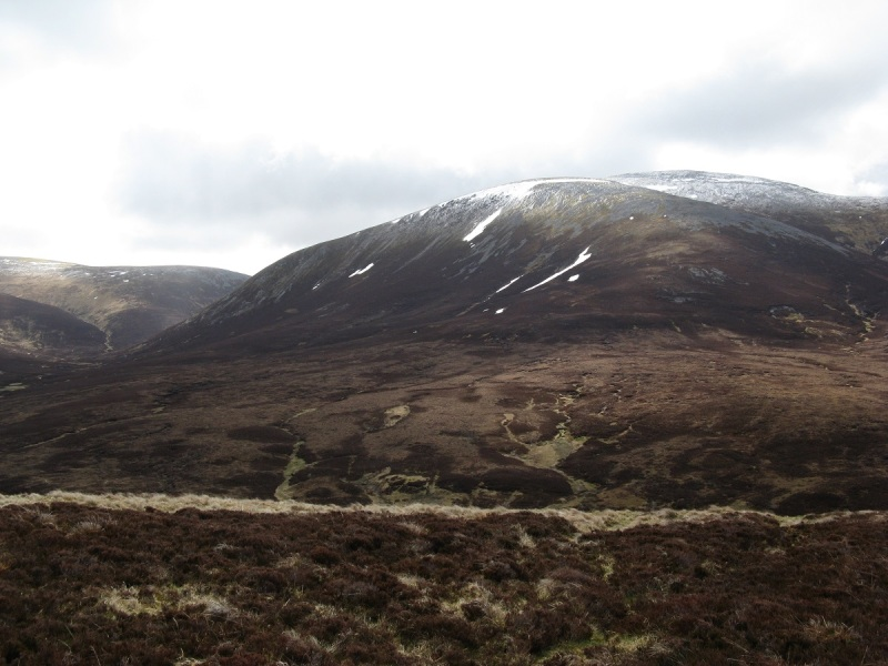 The snowy top of Carn an Righ, easily climbed from the bealach behind