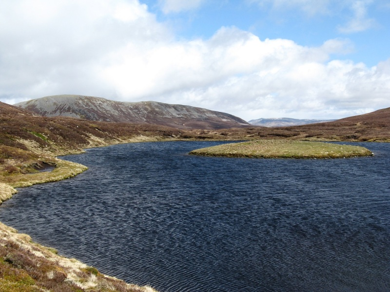 Loch nan Eun, the scree laden slopes of An Socach behind