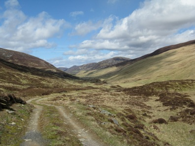 Heading down Baddoch Burn to recover my supply cache